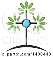 Clipart Of A Cross Tree Royalty Free Vector Illustration