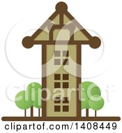 Clipart Of A Tall House Royalty Free Vector Illustration