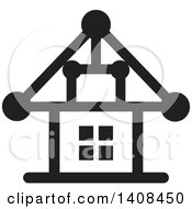 Clipart Of A Black And White House Royalty Free Vector Illustration