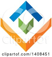 Clipart Of A House Made Of Abstract Arrows Royalty Free Vector Illustration