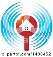 Clipart Of A House In A Circle Of Signal Waves Royalty Free Vector Illustration