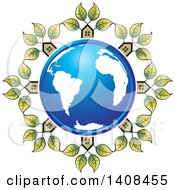 Clipart Of A Blue Earth Globe Encircled In Houses With Leaves Royalty Free Vector Illustration by Lal Perera