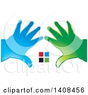 Clipart Of Silhouetted Hands Framing Windows Royalty Free Vector Illustration by Lal Perera