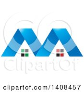 Clipart Of A Letter M Made Of Houses Royalty Free Vector Illustration