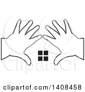Clipart Of Black And White Silhouetted Hands Framing Windows Royalty Free Vector Illustration by Lal Perera
