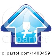 Clipart Of A House With A Silhouetted Spray Gun Royalty Free Vector Illustration by Lal Perera