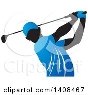 Black Silhouetted Male Golfer Dressed In Blue Swinging A Club