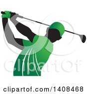 Black Silhouetted Male Golfer Dressed In Green Swinging A Club