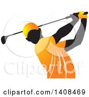 Black Silhouetted Male Golfer Dressed In Orange Swinging A Club