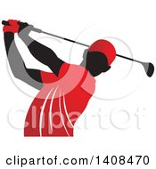 Black Silhouetted Male Golfer Dressed In Red Swinging A Club