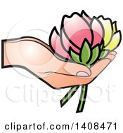 Hand Holding Yellow And Pink Flowers