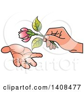 Hand Giving A Pink Flower