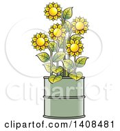 Clipart Of Sunflowers In A Barrel Royalty Free Vector Illustration by Lal Perera