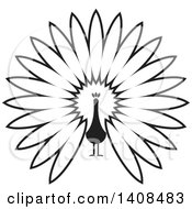 Clipart Of A Black And White Peacock Royalty Free Vector Illustration