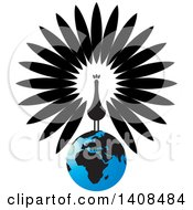 Clipart Of A Black And White Peacock On A Blue Earth Royalty Free Vector Illustration