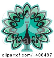 Clipart Of A Turquoise Peacock Royalty Free Vector Illustration