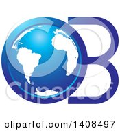 Clipart Of A Blue Earth Globe And Letters O B Royalty Free Vector Illustration