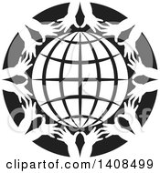 Clipart Of A Black And White Grid Globe Encircled With Childrens Hands Royalty Free Vector Illustration