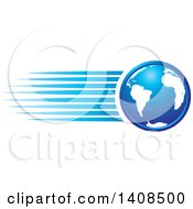 Clipart Of A Blue Earth Globe With Speed Streaks Royalty Free Vector Illustration by Lal Perera