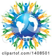 Clipart Of A Blue Orange And Green People Holding Hands And Cheering Around A Blue Globe Royalty Free Vector Illustration