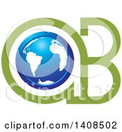 Clipart Of A Blue Earth Globe In A B Letters Royalty Free Vector Illustration