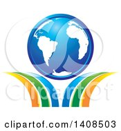 Clipart Of A Blue Earth Globe On Swooshes Royalty Free Vector Illustration by Lal Perera