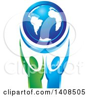 Clipart Of A Blue Globe Held Up By Blue And Green People Royalty Free Vector Illustration by Lal Perera