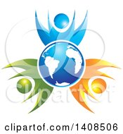 Clipart Of A Blue Globe Circled By Happy Blue Orange And Green People Royalty Free Vector Illustration by Lal Perera