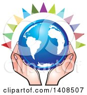 Clipart Of A Blue Globe In Hands With Colorful Rays Royalty Free Vector Illustration by Lal Perera