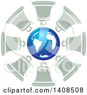 Clipart Of A Blue Globe In A Circle Of Bells Royalty Free Vector Illustration by Lal Perera