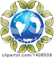 Clipart Of A Blue Earth Globe In A Circle Of Leaves Royalty Free Vector Illustration by Lal Perera