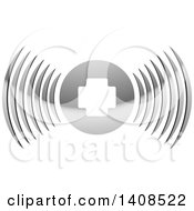 Clipart Of A Silver Medical Cross Icon With Signal Waves Royalty Free Vector Illustration