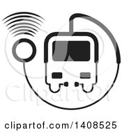 Clipart Of A Black And White Medical Transport Vehicle Or Bus Made Of A Stethoscope With Signals Royalty Free Vector Illustration by Lal Perera