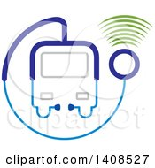 Clipart Of A Medical Transport Vehicle Or Bus Made Of A Stethoscope With Signals Royalty Free Vector Illustration by Lal Perera