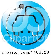 Stethoscope Forming The Shape Of A Car Or Ambulance Over A Blue Circle