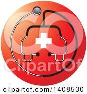 Clipart Of A Stethoscope Forming The Shape Of A Car Or Ambulance With A Cross Over A Red Circle Royalty Free Vector Illustration by Lal Perera