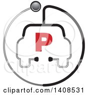 Stethoscope Forming The Shape Of A Car Or Ambulance With A Letter P For Parking In A Circle