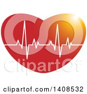 Clipart Of A Cardiogram On A Heart Royalty Free Vector Illustration
