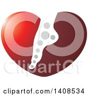 Clipart Of A Foot In A Heart Royalty Free Vector Illustration