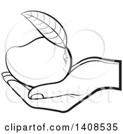 Clipart Of A Black And White Lineart Hand Holding A Mango Royalty Free Vector Illustration