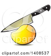 Clipart Of A Knife Cutting A Mango Royalty Free Vector Illustration