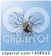 Clipart Of A Background Of Shattered Blue Glass Royalty Free Vector Illustration by Lal Perera