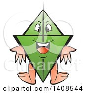 Clipart Of A Cartoon Happy Green Kite Character Royalty Free Vector Illustration