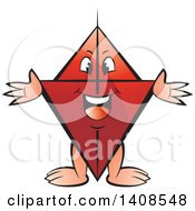Clipart Of A Cartoon Happy Red Kite Character Royalty Free Vector Illustration by Lal Perera