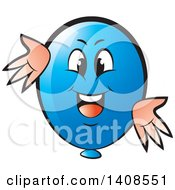 Clipart Of A Cartoon Happy Blue Party Balloon Character Royalty Free Vector Illustration by Lal Perera