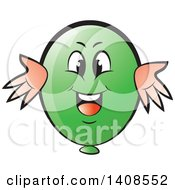 Clipart Of A Cartoon Happy Green Party Balloon Character Royalty Free Vector Illustration
