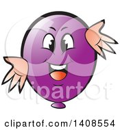 Clipart Of A Cartoon Happy Purple Party Balloon Character Royalty Free Vector Illustration