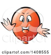 Clipart Of A Cartoon Happy Red Party Balloon Character Royalty Free Vector Illustration by Lal Perera