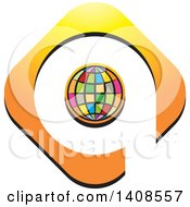 Clipart Of A Colorful Globe Outlined In Orange With Space As A Q Royalty Free Vector Illustration
