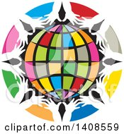 Clipart Of A Circle Of Colorful Spaces And White Hands Framing A Globe Royalty Free Vector Illustration by Lal Perera